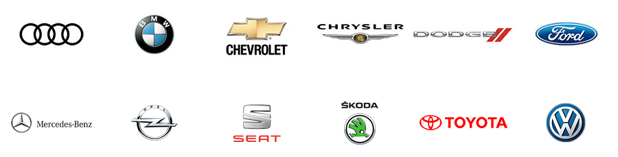 audi, bmw, chevrolet, mercedes-benz, opel, seat, chrysler, dodge, ford, skoda, toyota, vw